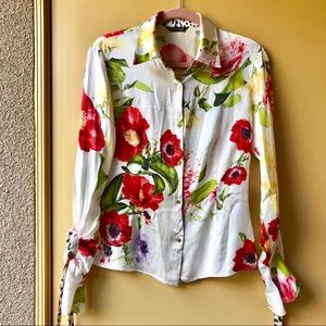 Roberto Cavalli flower print silk blouse